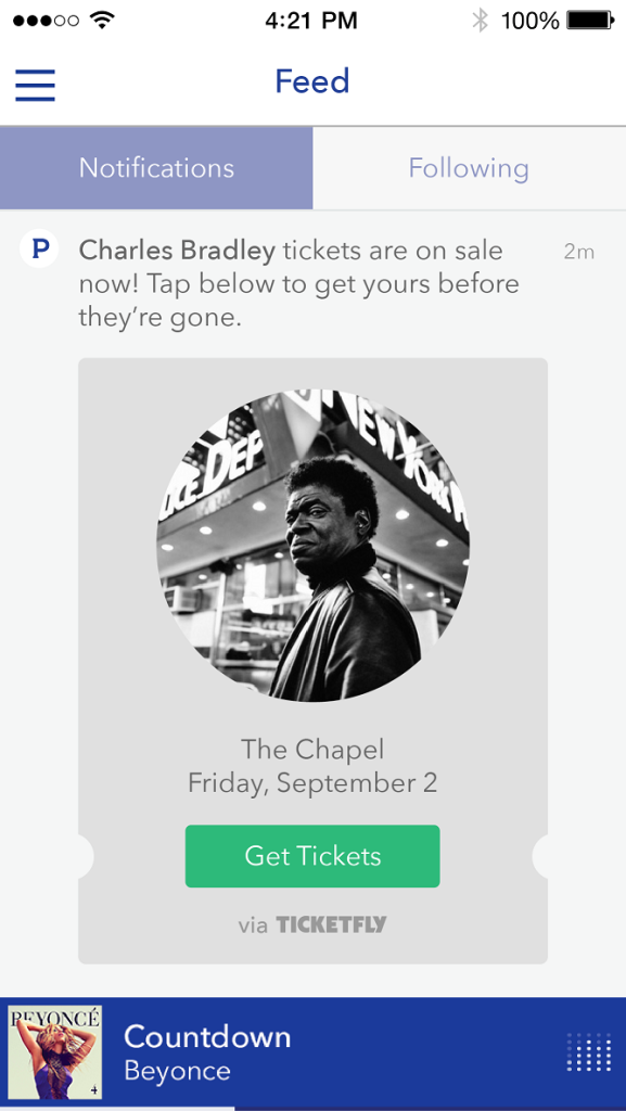 Feed Notifcation - TF - Buy Tickets